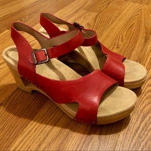 Dansko Tasha Red Leather Sandals